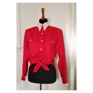 Vintage Red Button Up With Lace Details